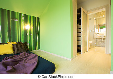 Spacious bedroom - Modern spacious bedroom with green wall