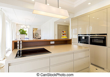 Spacious beige kitchen - Modern house and spacious open plan...