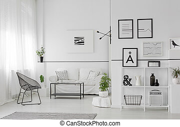 Spacious black and white interior