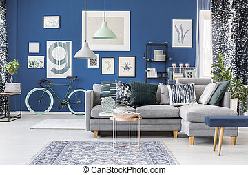 Spacious blue living room