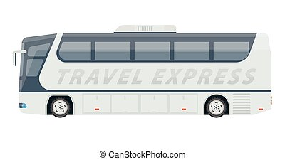 Spacious comfortable white travel express bus isolated illustration