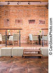 Spacious elegant interior of restaurant