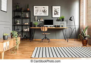 Spacious grey workspace interior
