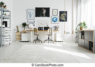 Spacious home office - Spacious white home office designed ...