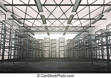 Spacious industrial interior with sky view and daylight. 3D...