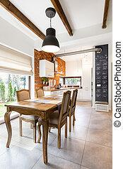 Spacious kitchen with beautiful garden view