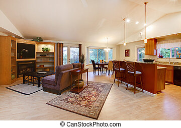 Spacious living room. Kitchen and dining area