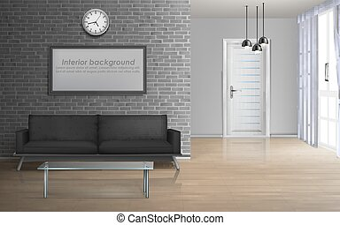 Spacious living room realistic vector interior - House...