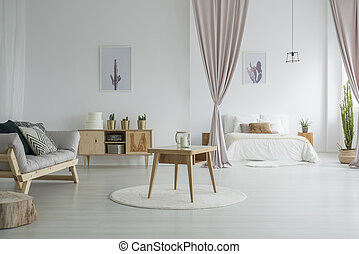 Spacious living room with bedroom
