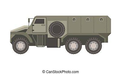 Spacious military transport in solid bulletproof dark corpus...