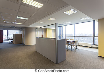 Office with huge window and spacious interior