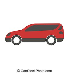 Spacious red family car with big trunk isolated illustration...