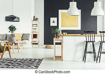 Spacious retro living room