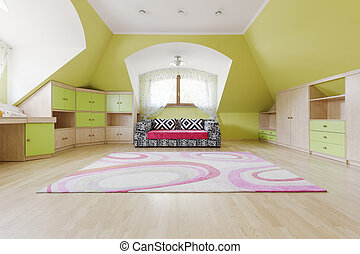 Spacious room in olive colours