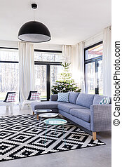 Spacious room with patterned carpet