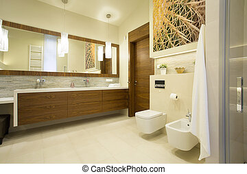 Spacious washroom with wooden furniture in modern interior