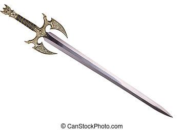 spada, disposto, vicino, diagonale, isolato, bianco, fondo.