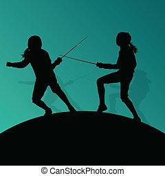 spada, scherma, astratto, giovane, combattimento, silhouette, vettore, illustrazione, fondo, attivo, sport, adolescente