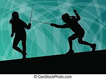 spada, scherma, astratto, giovane, illustrazione, combattenti, vettore, fondo, attivo, silhouette, sport, donne