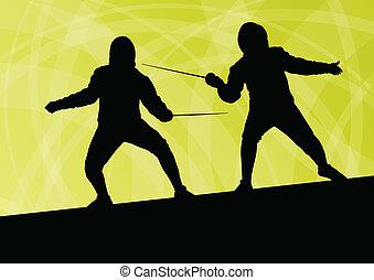 spada, scherma, astratto, uomini, giovane, illustrazione, combattenti, vettore, fondo, attivo, silhouette, sport