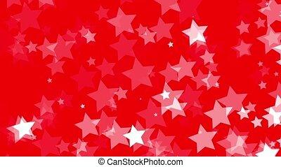 spadanie, biały, gwiazdy, na, czerwony