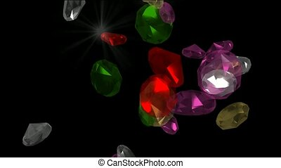 spadanie, klejnoty, &, diamonds.