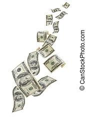 spadanie, na, pieniądze