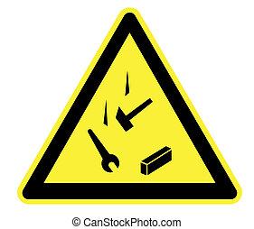 spadanie, obiekty, żółty, ostrzeżenie