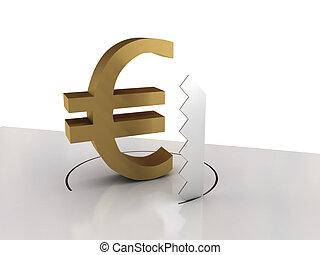spadanie, od, euro