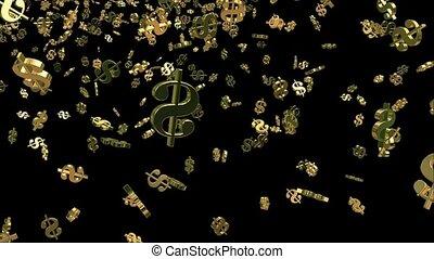 spadanie, usa, dolar znaczą, w, złoty
