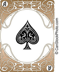 Spade Ace Card - LIberty style poker playing cards, vector...
