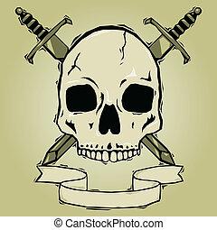 spade, cranio, woodcut
