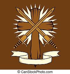 spade, croce, woodcut