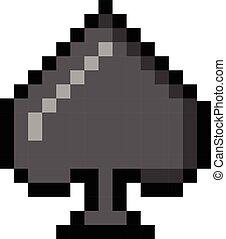 Spade pixel playing cards poker gambling cartoon retro game style