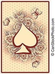 Spade poker vintage playing card
