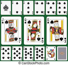 Spade suit large figures - Playing cards, spade suit, joker...