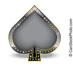 Spade with diamonds - Spade symbol inside a luxury frame and...