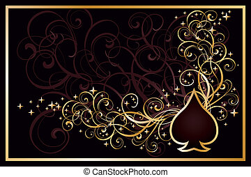 spader, kasino, kort, vektor, gyllene