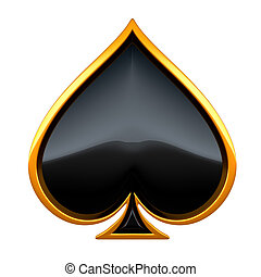 Spades card suits with golden framing isolated over white