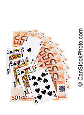 Spades cards and 50 Euro banknotes over white background.