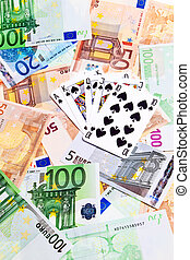 Spades cards and Euro banknotes over white background.