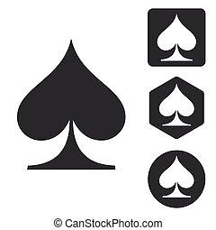 Spades icon set, monochrome