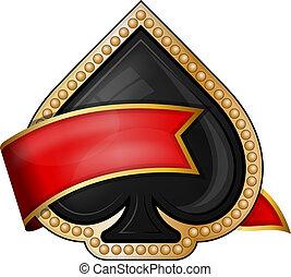 spades., kaart, kostuum, iconen, met, lint