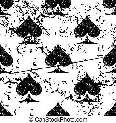 Spades pattern grunge, monochrome