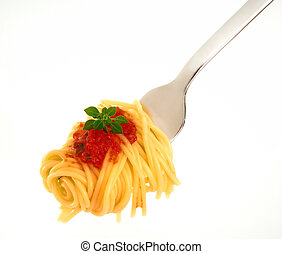 spagetti, en, tenedor