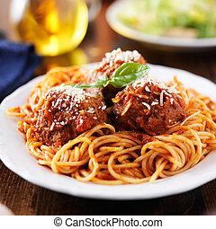 spagetti kött och kulor, hos, skräpa, middag tabell