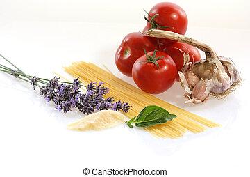 Spagetti kochen - Zutaten f?r ein Spagettigericht, weisser...