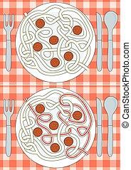 spagetti, laberinto