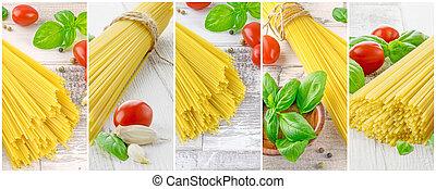spagetti, och, ingredienser, a, inramat, montage