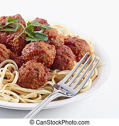 spagetti, och, kött, klumpa ihop sig